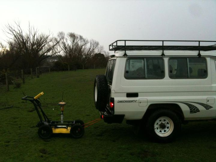 Using ground-penetrating radar to map the depth to the water-table and bedrock on a farm near Ballarat, Victoria.
